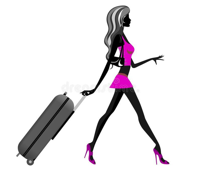 Download Fashionable Girl Silhouette Pulling Trolley Stock Vector - Image: 23873506