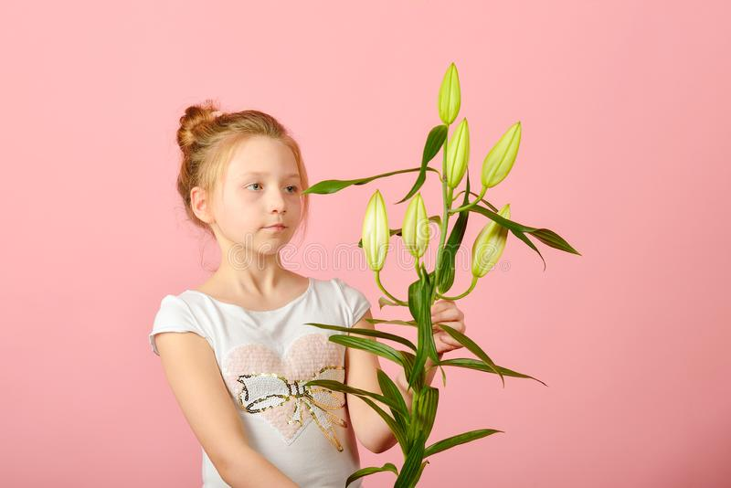 Fashionable and glamorous girl with a flower in the studio on a pink background stock photography