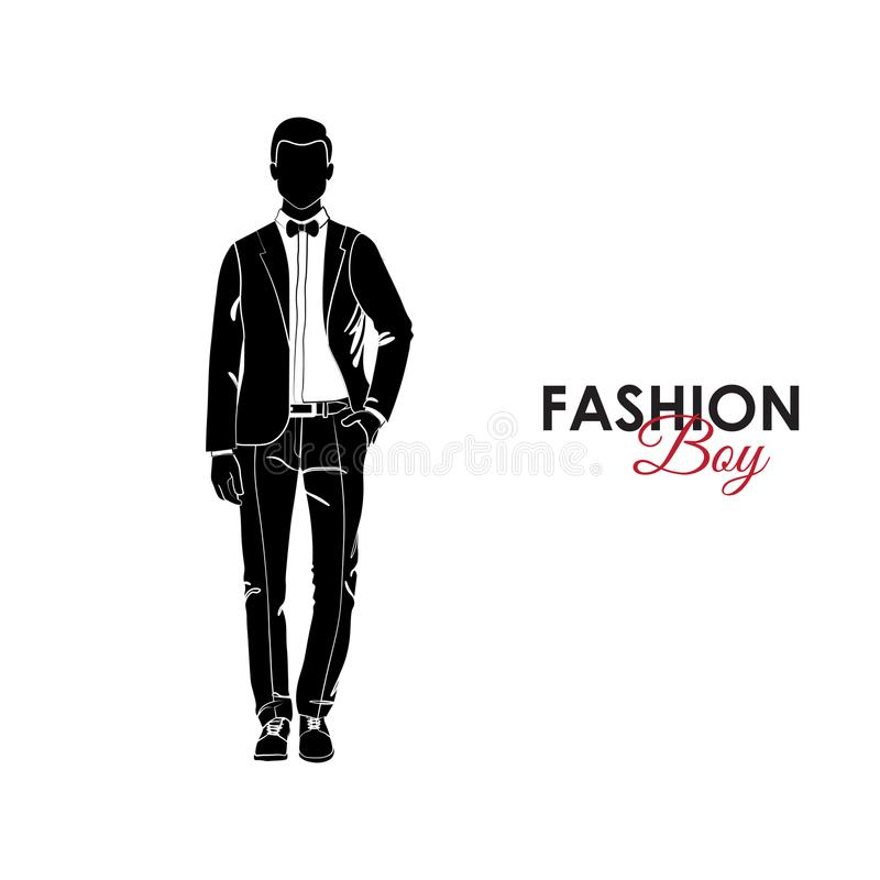 Guy. Fashion. Silhouette of a guy. The guy in a classic suit and bow tie vector illustration