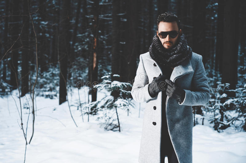 Fashionable handsome man in winter coat royalty free stock image