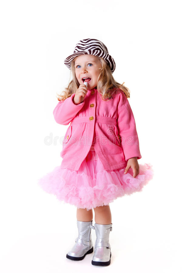 Free Fashionable Kid With Lipstick On White Royalty Free Stock Images - 17168429