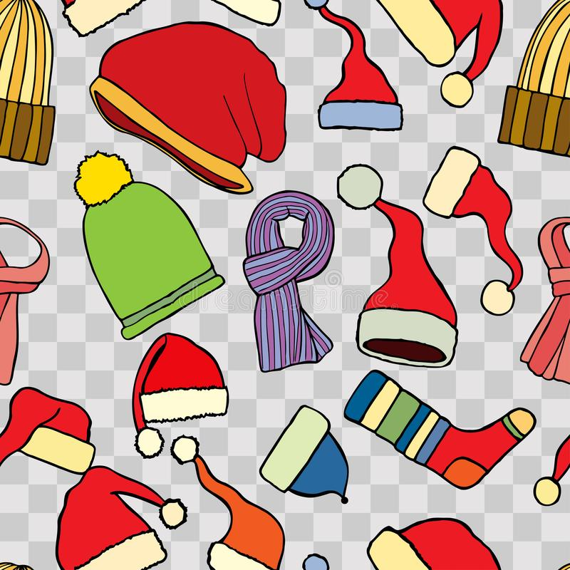 Fashionable knitted accessories stock illustration