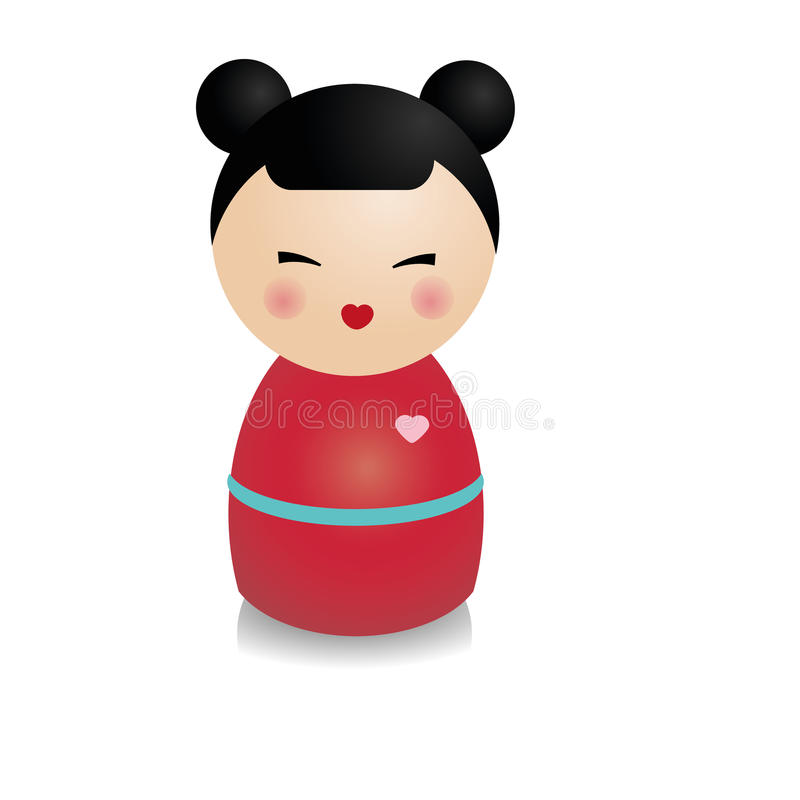 Fashionable kokeshi doll. Traditional japanese figure in realistic style. Vector icon royalty free illustration