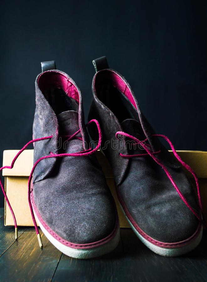 Fashionable leather shoes in a box closeup royalty free stock image