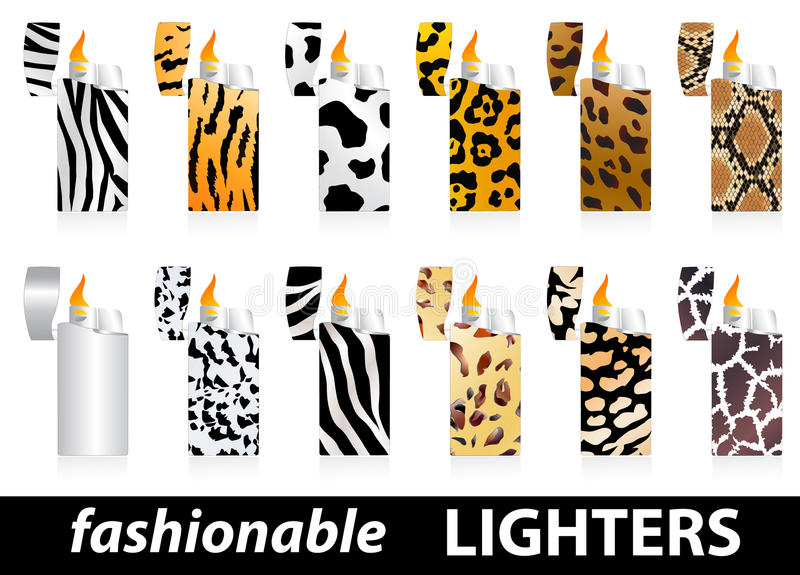 Download Fashionable lighters stock vector. Image of spark, tiger - 14134106