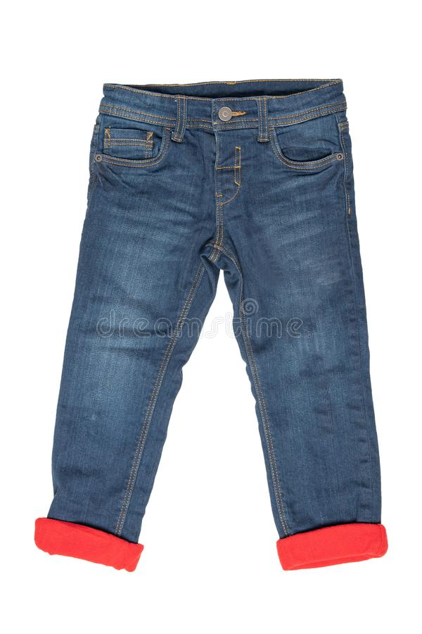 Fashionable lined Thermojeans. Trendy warm stretch blue jeans tr stock image