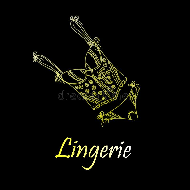 Fashionable lingerie collection for women,  sketch illustration. Logo of women`s lace underwear, panties, bras, corsets, vector illustration