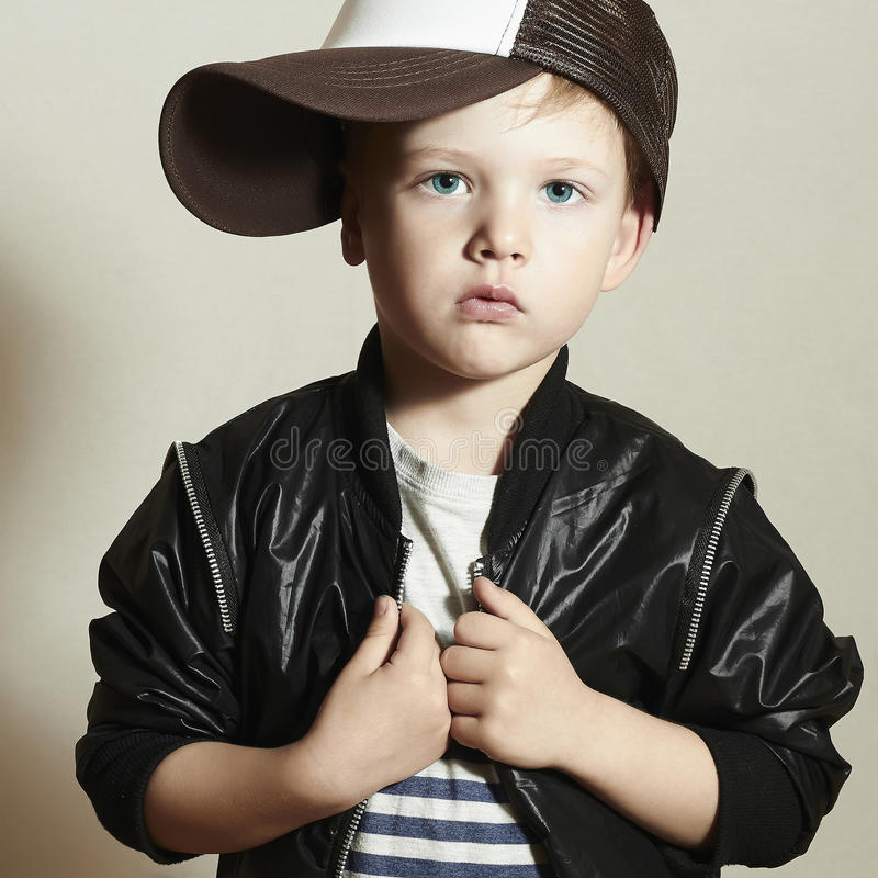 Fashionable little boy.Hip-Hop Style. fashion chil stock photography