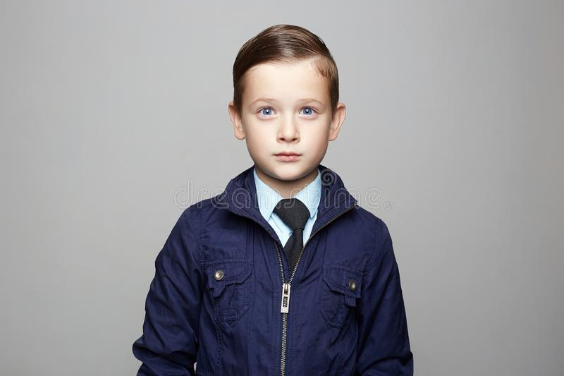 Fashionable little boy in suit. fashion child portrait stock image