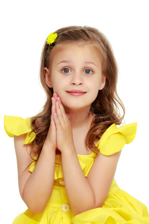 Fashionable little girl in a dress royalty free stock image
