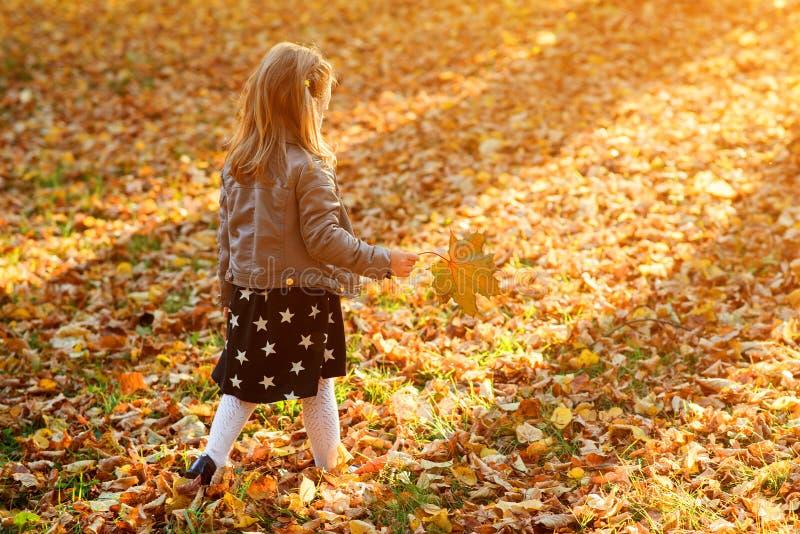 Fashionable little girl walking in autumn park. Child plays with autumn leaves. Happy autumn holidays. Autumn fashion, lifestyle royalty free stock photos