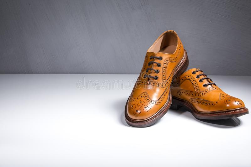 Fashionable Luxury Male Full Broggued Tan Leather Oxfords Shoes. Placed Over White Surface. Against Gray Wall. Horizontal Image Orientation royalty free stock photography
