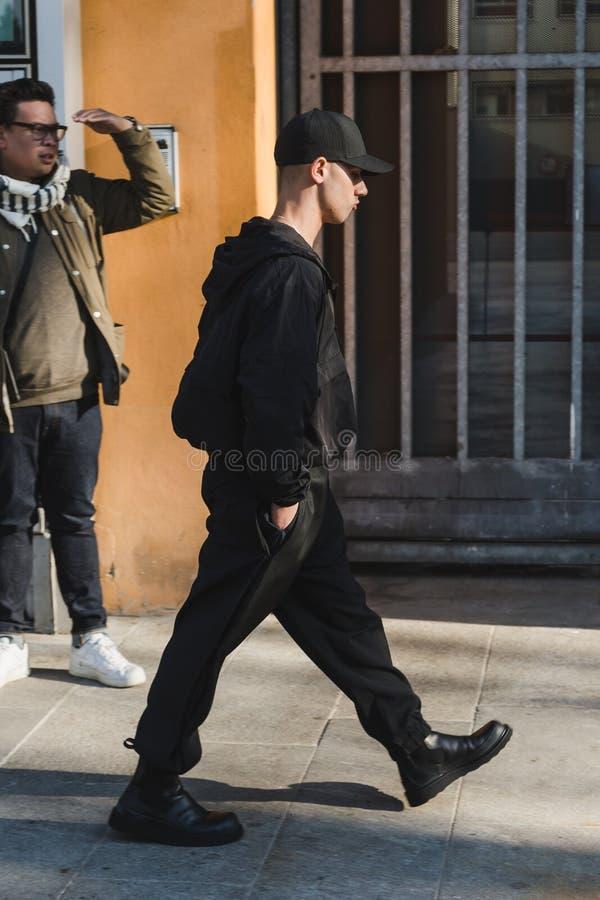 Fashionable man during Milan Men`s Fashion Week royalty free stock photos