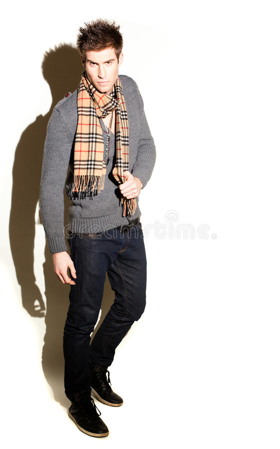 Fashionable Man In Scarf Royalty Free Stock Image