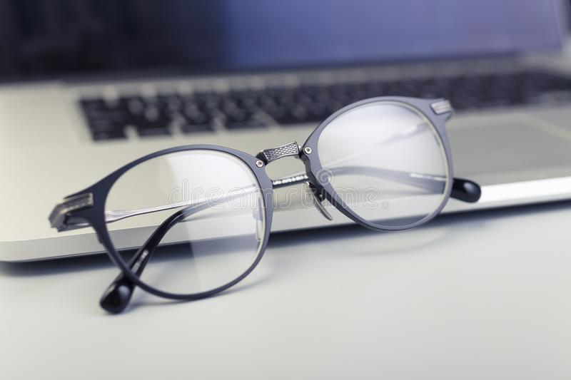 Spectacles with metal frames royalty free stock photography