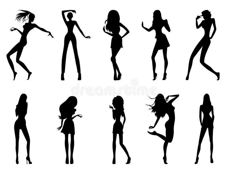 Fashionable model silhouettes. Set of eight black silhouettes of fashion posing models isolated on white background, hand drawing illustration stock illustration