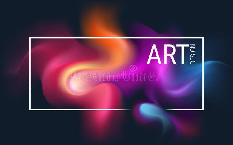 Abstract horizontal vector image. Diffuse dynamic spots of paint on a dark background. The effect of a flowing liquid. Explosion o stock illustration
