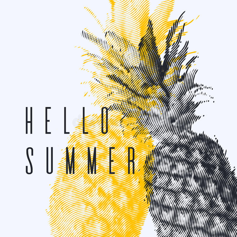 Fashionable modern poster with pineapple, Hello summer. Tropical fruit on white background stock illustration