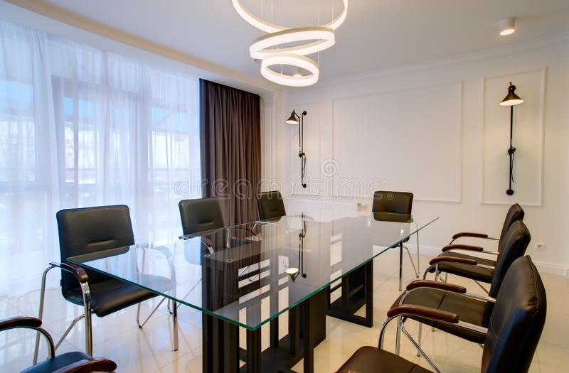 Office office for negotiations and meetings in the style of high-tech stock images