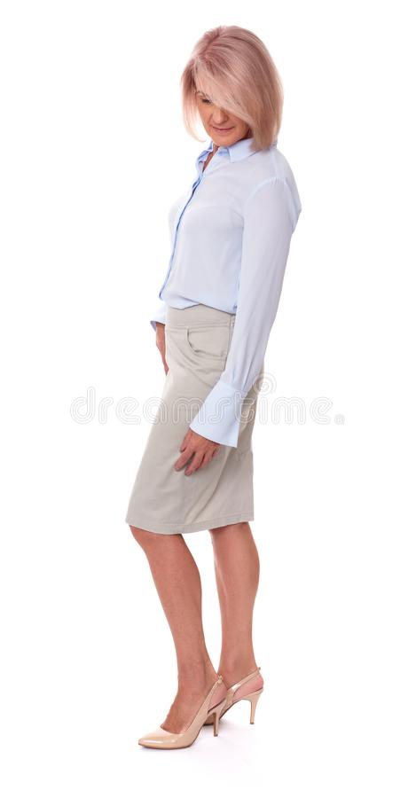 Fashionable old woman full length royalty free stock photography