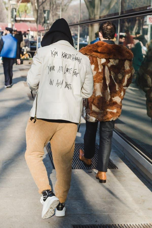 Fashionable people during Milan Men`s Fashion Week stock photos
