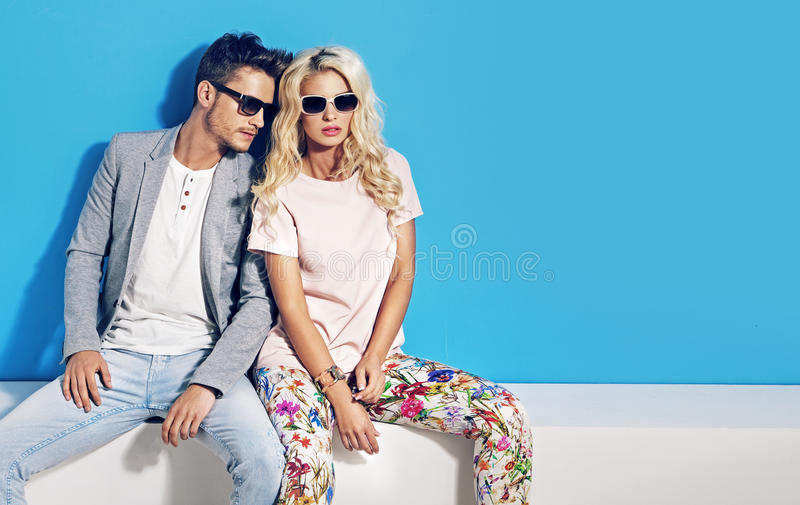 Fashionable picture of young people stock photography