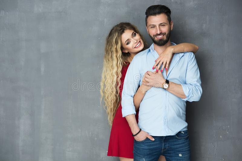 Fashionable picture of happy people stock photography