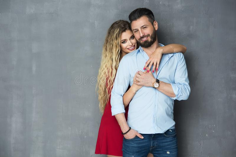 Fashionable picture of happy people stock images