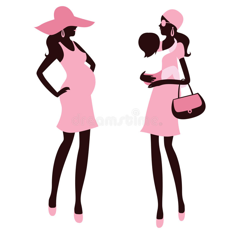 Fashionable pregnancy and maternity. Cute illustration Fashionable pregnancy and maternity royalty free illustration