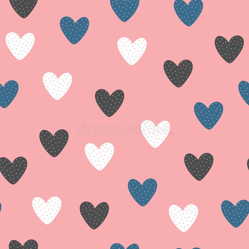 Fashionable seamless pattern with cute hearts drawn by hand. royalty free illustration