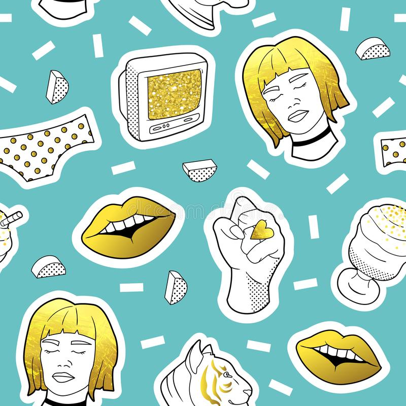 Fashionable Seamless Pattern in Pop Art Style with Golden Badges and Patches. Fabric Background 80s-90s with Girl Lips. Fashionable Seamless Pattern in Pop Art stock illustration