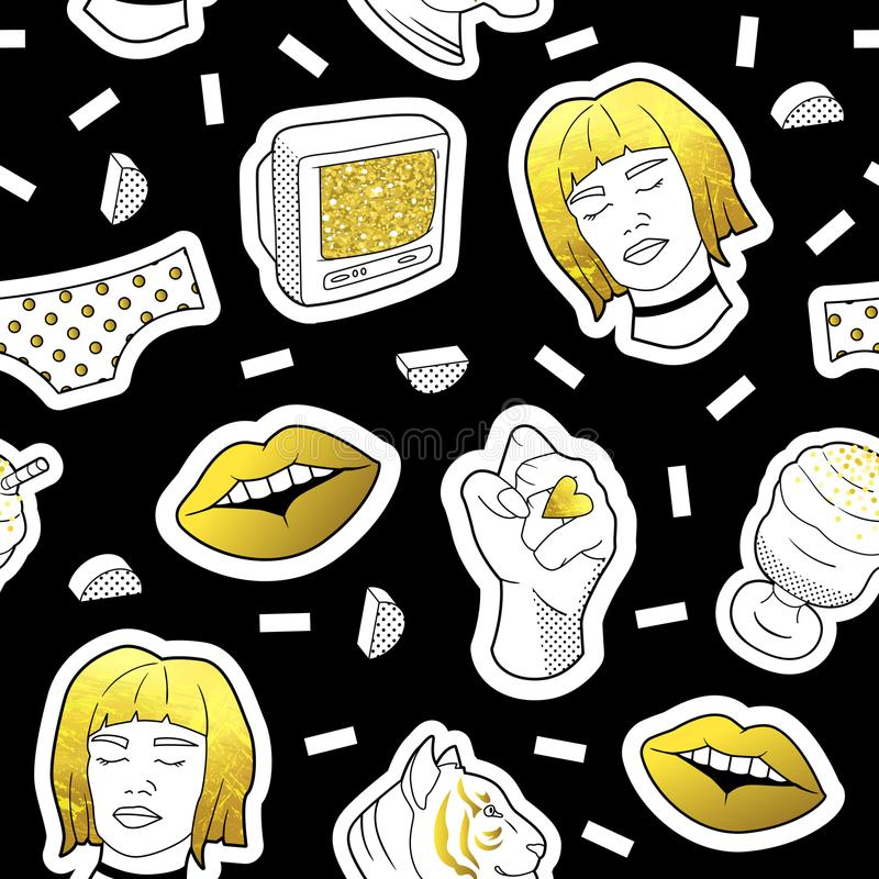 Fashionable Seamless Pattern in Pop Art Style with Golden Badges and Patches. Fabric Background 80s-90s with Girl Lips. Fashionable Seamless Pattern in Pop Art royalty free illustration