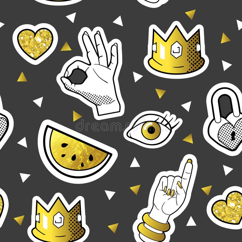 Fashionable Seamless Pattern in Pop Art Style with Golden Badges and Patches. Fabric Background 80s-90s with Hands. And Hearts. Vector illustration vector illustration