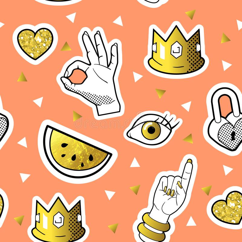 Fashionable Seamless Pattern in Pop Art Style with Golden Badges and Patches. Fabric Background 80s-90s with Hands. And Hearts. Vector illustration stock illustration