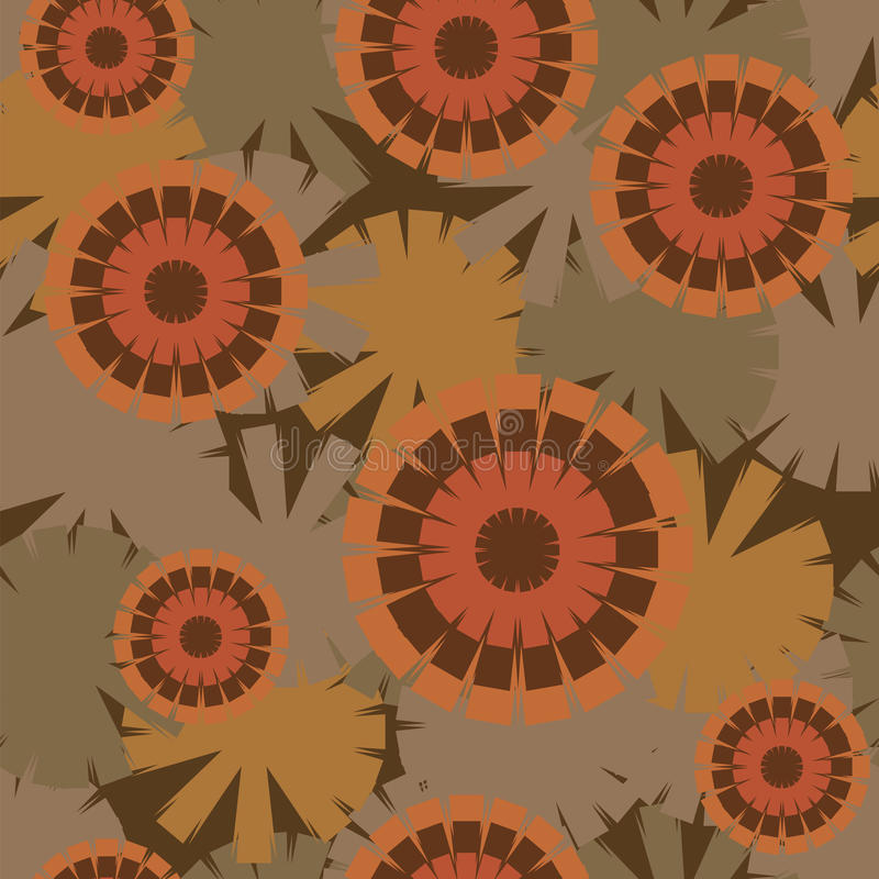 Fashionable seamless pattern of psychedelic sunflowers royalty free illustration