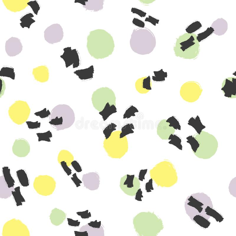 Fashionable seamless pattern with round spots and watercolor brush strokes. vector illustration