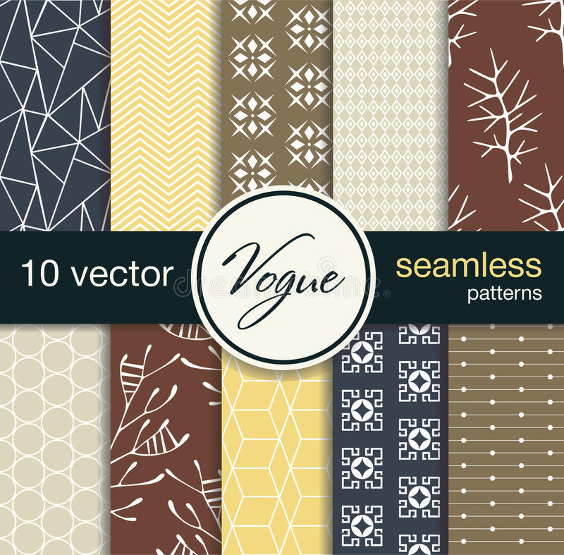 10 fashionable seamless vector patterns. Blanks for postcards, prints fabric, background for web. Subject fashion. The texture may be used for printing on