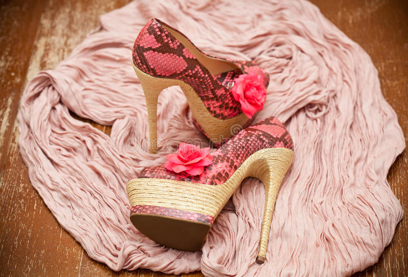 Fashionable shoes pink with pink flowers and a scarf stock image