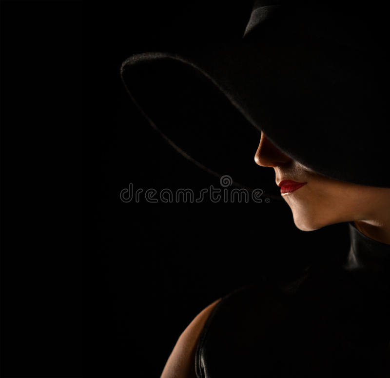 Fashionable shot of beautiful profile, silhouette with a mole royalty free stock photo