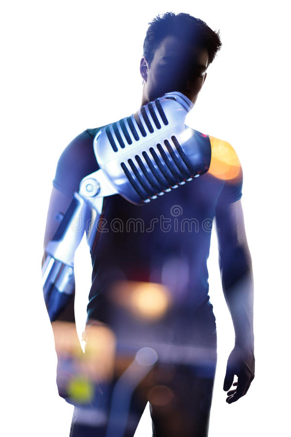 Fashionable singer in silhouette royalty free stock image