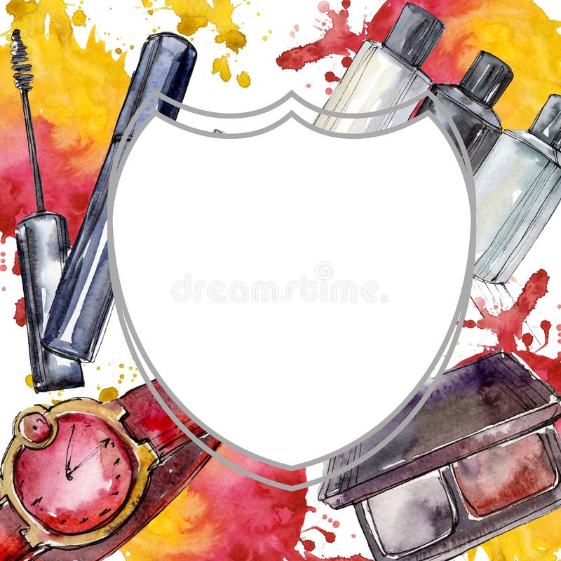 Fashionable sketch in a watercolor style element. Watercolour background illustration set. Frame border ornament square. Fashionable sketch illustration in a vector illustration