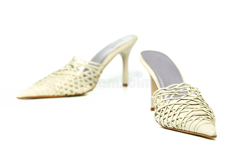 Fashionable stiletto mules for summer, kitten heels stock photography