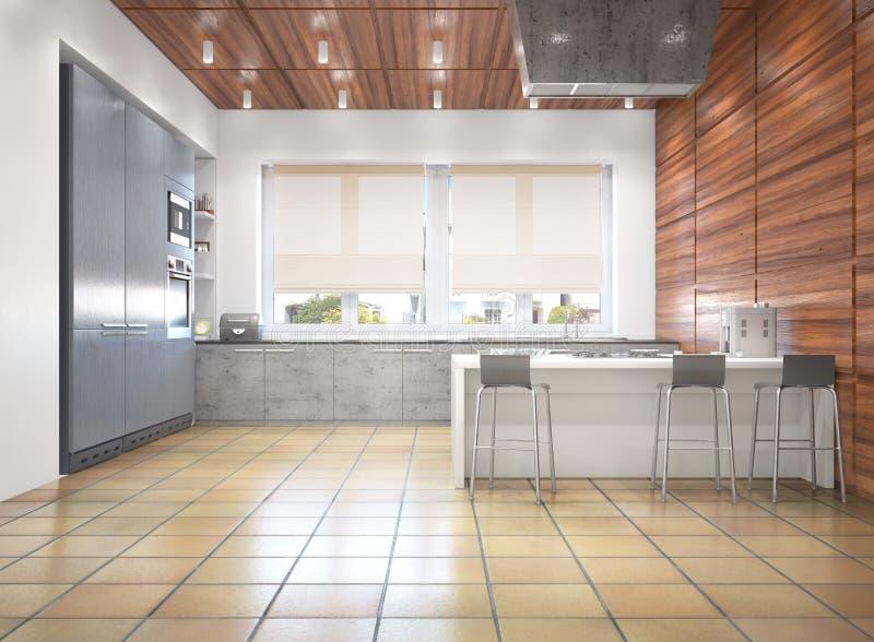 fashionable stylish Kitchen interior stock illustration