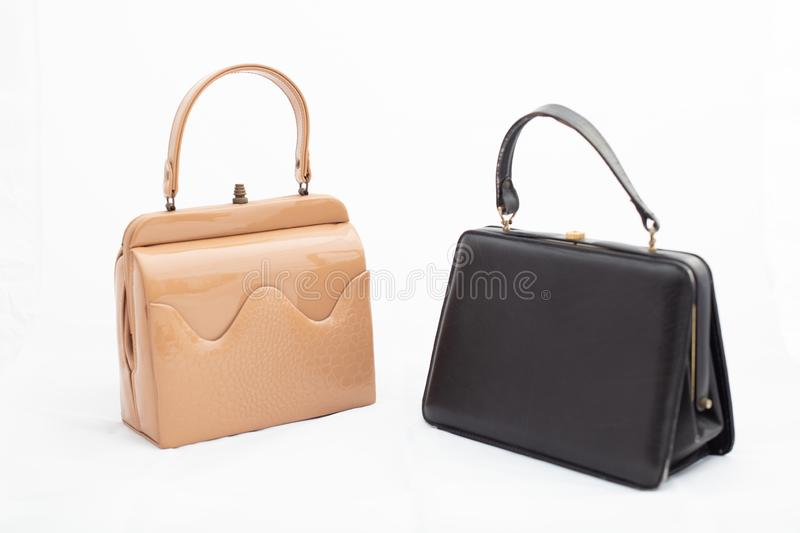 Vintage handbags Isolated on a white background royalty free stock photos