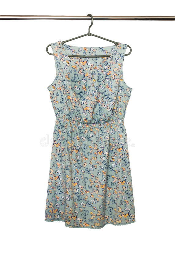 Fashionable summer short dress with floral sleeveless pattern, isolated on white background.  royalty free stock photo