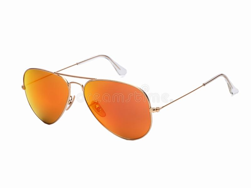 Sunglasses with yellow lenses isolated on white background royalty free stock image
