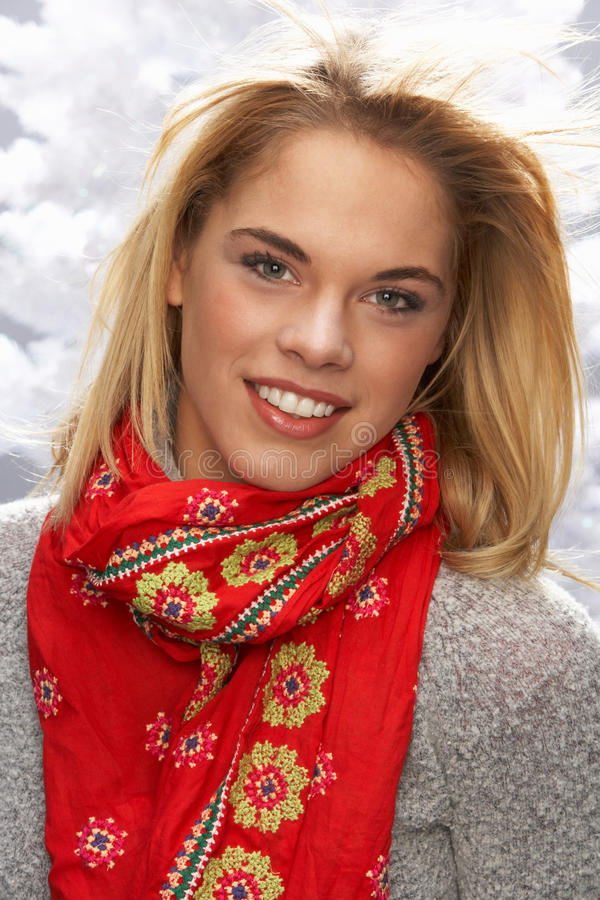 Download Fashionable Teenage Girl Wearing Scarf In Studio Stock Image - Image: 15373593