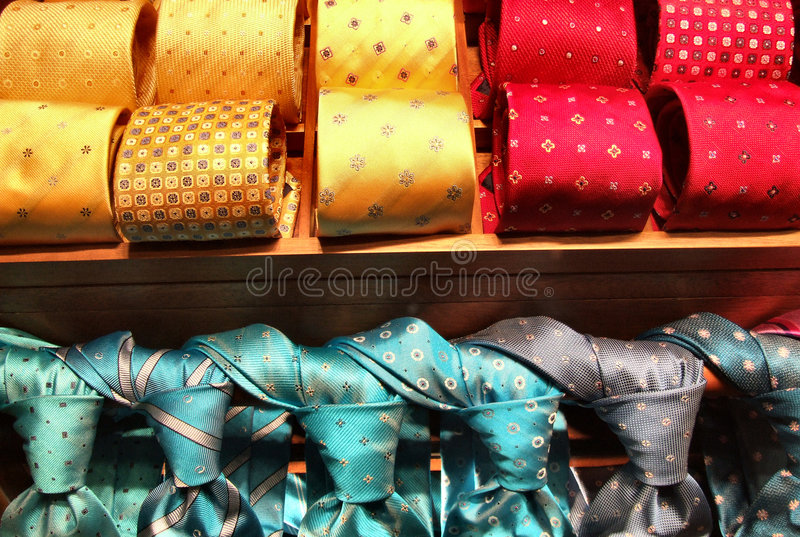 Fashionable tie shop stock images