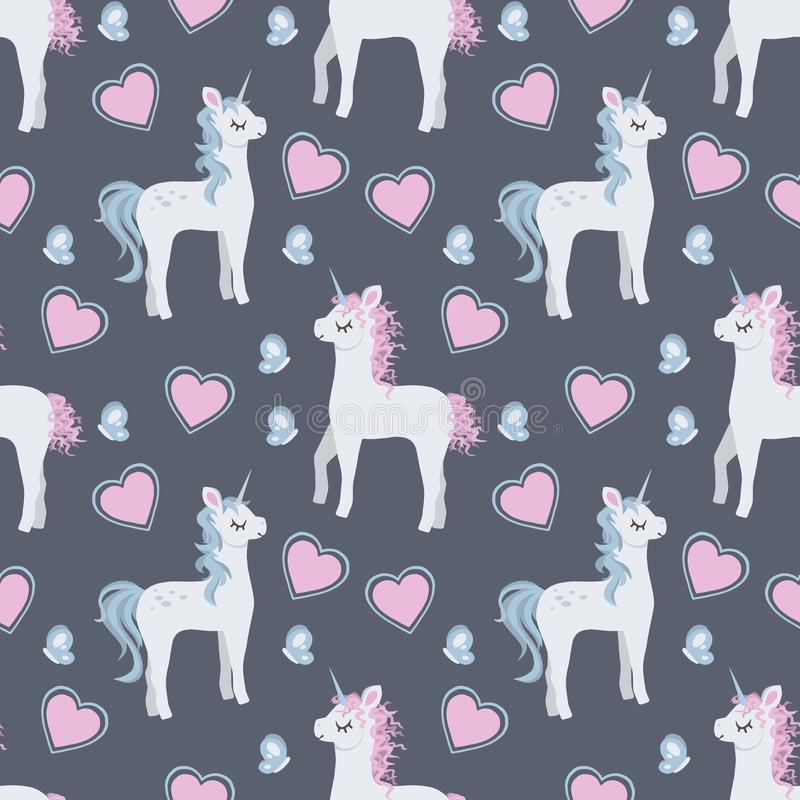 Fashionable trendy seamless pattern with cute cartoon unicorns with baby blue and pink manes and butterflies and hearts stock illustration