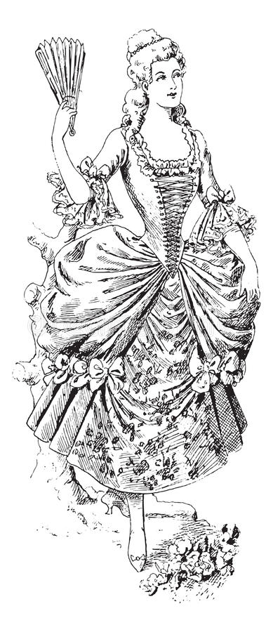 Fashionable victorian lady with fan and ball gown. Black and white illustration of a fashionable victorian lady with fan and ball gown vector illustration